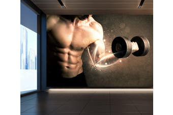 3D One-Handed Dumbbell 045 Wall Murals Woven paper (need glue), XXL 312cm x 219cm (WxH)(123''x87'')