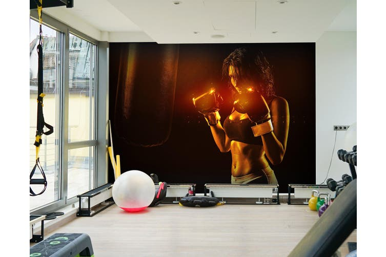 3D Lady Boxing 043 Wall Murals Woven paper (need glue), XXXL 416cm x 254cm (WxH)(164''x100'')