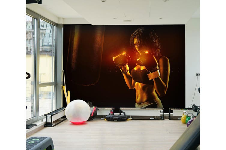 3D Lady Boxing 043 Wall Murals Self-adhesive Vinyl, XL 208cm x 146cm (WxH)(82''x58'')