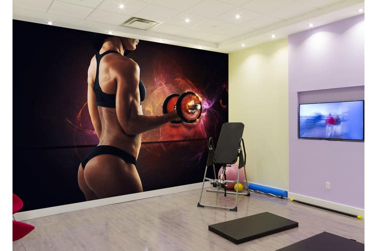 3D One-Handed Dumbbell 042 Wall Murals Woven paper (need glue), XL 208cm x 146cm (WxH)(82''x58'')