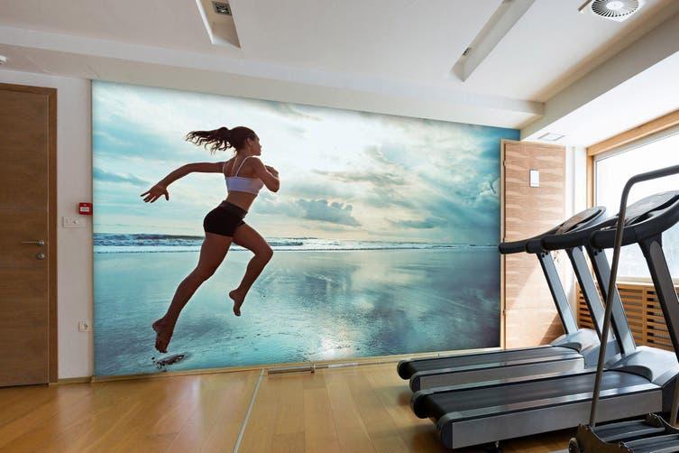 3D Beach Running 040 Wall Murals Woven paper (need glue), XL 208cm x 146cm (WxH)(82''x58'')