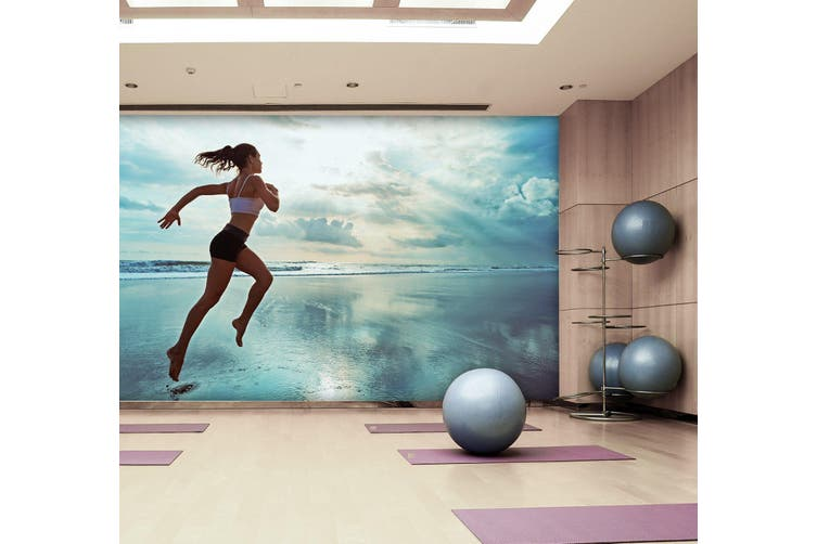3D Beach Running 040 Wall Murals Woven paper (need glue), XXL 312cm x 219cm (WxH)(123''x87'')