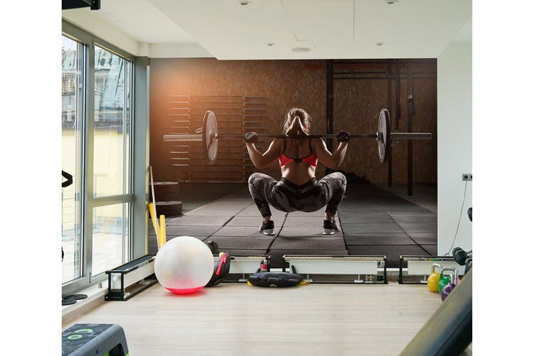 3D Squat Dumbbell 038 Wall Murals Woven paper (need glue), XL 208cm x 146cm (WxH)(82''x58'')