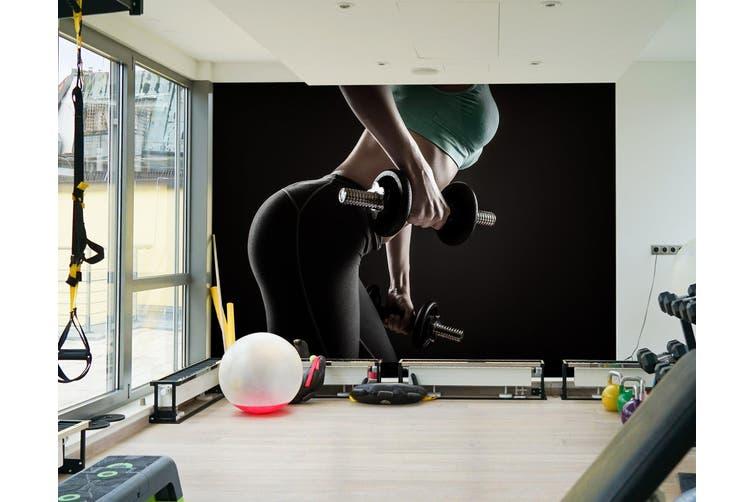 3D Girl Dumbbell 035 Wall Murals Woven paper (need glue), XXXL 416cm x 254cm (WxH)(164''x100'')
