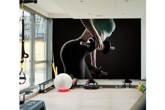3D Girl Dumbbell 035 Wall Murals Woven paper (need glue), XXXXL 520cm x 290cm (WxH)(205''x114'')
