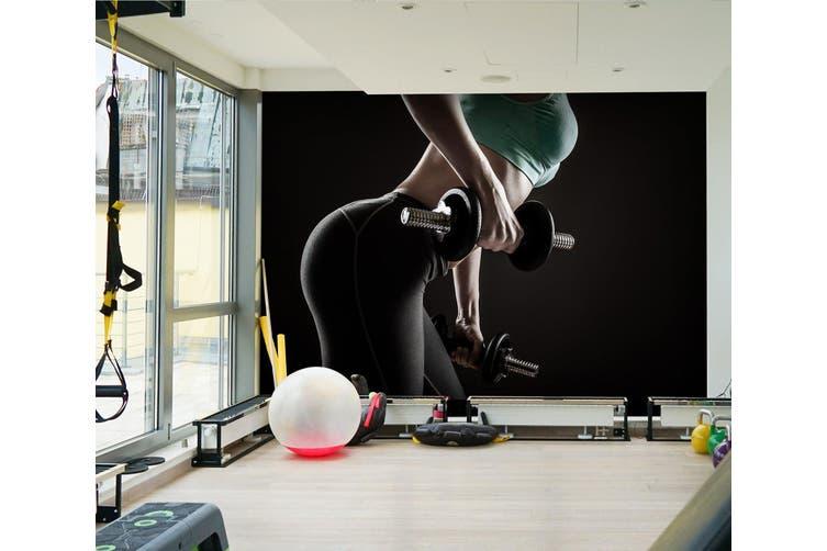 3D Girl Dumbbell 035 Wall Murals Self-adhesive Vinyl, XXXL 416cm x 254cm (WxH)(164''x100'')