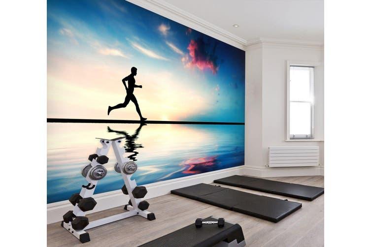 3D Beach Running 034 Wall Murals Woven paper (need glue), XL 208cm x 146cm (WxH)(82''x58'')