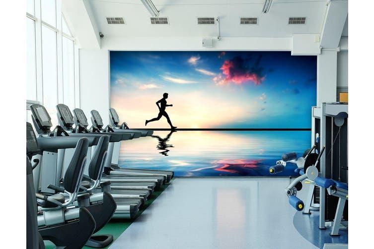 3D Beach Running 034 Wall Murals Woven paper (need glue), XXL 312cm x 219cm (WxH)(123''x87'')