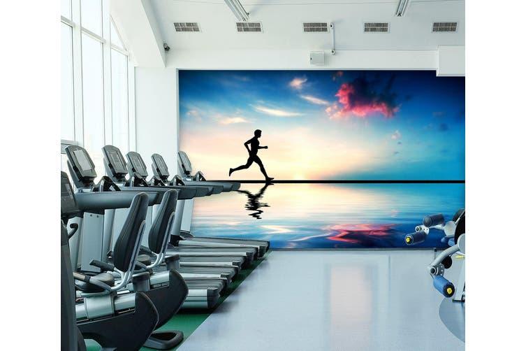 3D Beach Running 034 Wall Murals Self-adhesive Vinyl, XXL 312cm x 219cm (WxH)(123''x87'')