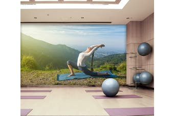 3D Morning Yoga 032 Wall Murals Woven paper (need glue), XXL 312cm x 219cm (WxH)(123''x87'')