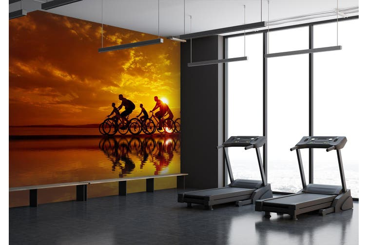 3D Cycling 028 Wall Murals Woven paper (need glue), XL 208cm x 146cm (WxH)(82''x58'')