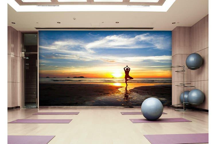 3D Sunset Yoga 026 Wall Murals Woven paper (need glue), XL 208cm x 146cm (WxH)(82''x58'')