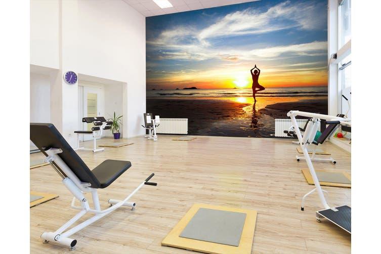 3D Sunset Yoga 026 Wall Murals Woven paper (need glue), XXXXL 520cm x 290cm (WxH)(205''x114'')