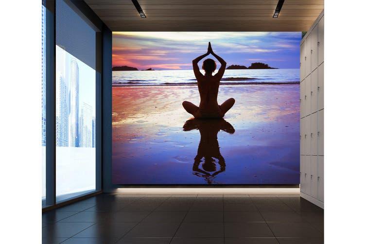 3D Yoga Pose 025 Wall Murals Self-adhesive Vinyl, XXXXL 520cm x 290cm (WxH)(205''x114'')