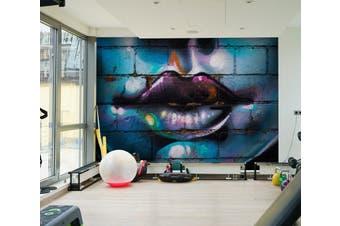 3D Graffiti Lips 020 Wall Murals Woven paper (need glue), XXXL 416cm x 254cm (WxH)(164''x100'')