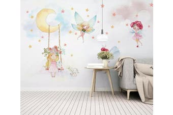 3D Fairy Moon 543 Wall Murals Woven paper (need glue) Wallpaper Murals