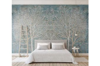 3D Silver Tree 939 Wall Murals Self-adhesive Vinyl Wallpaper Murals