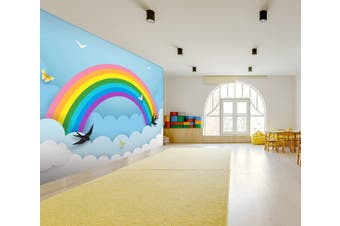 3D Rainbow Butterfly 044 Wall Murals Woven paper (need glue) Wallpaper Murals