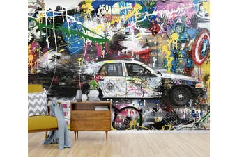 3D Car Graffiti 15 Self-adhesive Vinyl Wallpaper Murals