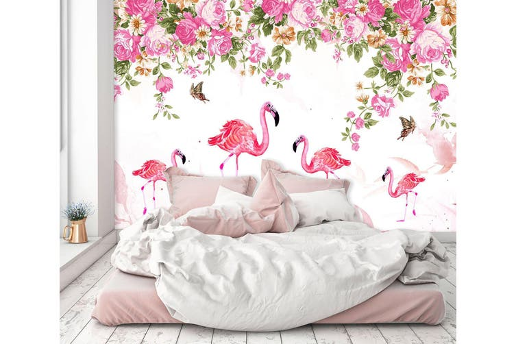 3D Flamingo Butterfly Flower 555 Self-adhesive Vinyl, XXL 312cm x 219cm (WxH)(123''x87'')