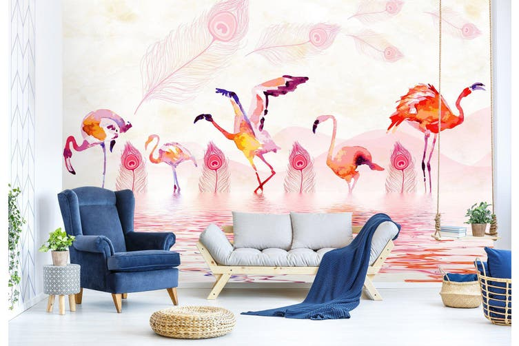 3D Flamingo Playing In The Water 553 Woven paper (need glue), XL 208cm x 146cm (WxH)(82''x58'')