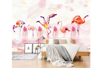 3D Flamingo Playing In The Water 553 Woven paper (need glue), XXXL 416cm x 254cm (WxH)(164''x100'')