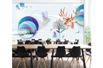 3D Deer Head Solid Triangle 551 Woven paper (need glue), XXL 312cm x 219cm (WxH)(123''x87'')