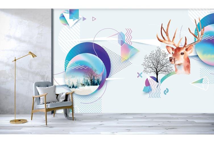 3D Deer Head Solid Triangle 551 Woven paper (need glue), XXXXL 520cm x 290cm (WxH)(205''x114'')