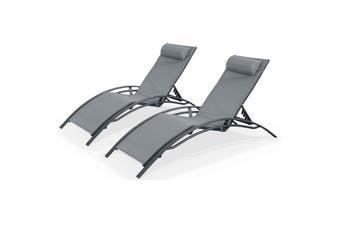 LOUISA Set of 2x Sun Loungers Anthracite Aluminium Frames and Grey Textilene