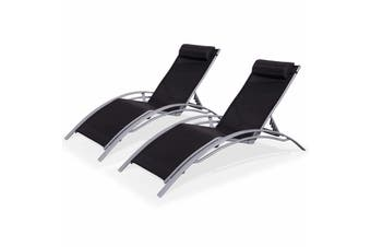 LOUISA Set of 2x Sun Loungers Grey Aluminium Frames and Black Textilene