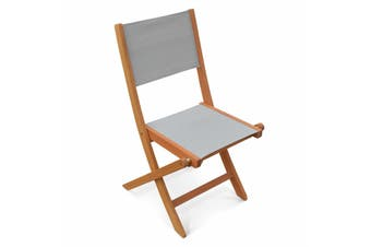 ALMERIA Set of 2x Folding Chairs Eucalyptus | Light Grey