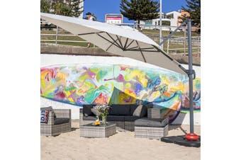 FALGOS 3x3m Square Aluminium Cantilever Outdoor Umbrella | Ecru Off-White