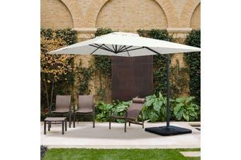 SAINT JEAN DE LUZ 3x4m Rectangular Aluminium Cantilever Outdoor Umbrella | Ecru Off-White