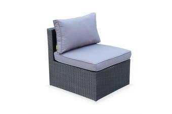 SIENA 5 Seater L Shape Outdoor Lounge Set Black Wicker, Grey Cushions, Aluminium Frame