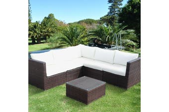 SIENA 5 Seater L Shape Outdoor Lounge Set Brown Wicker, Off-White Cushions, Aluminium Frame