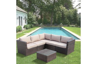 SIENA 5 Seater L Shape Outdoor Lounge Set Brown Wicker, Brown Cushions, Aluminium Frame