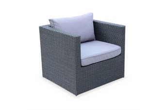 BENITO 5 Seater Outdoor Lounge Set, Black Wicker, Grey Cushions, Aluminium Frame