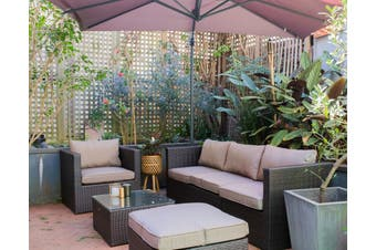 BENITO 5 Seater Outdoor Lounge Set, Brown Wicker, Brown Cushions, Aluminium Frame