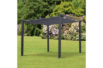 CONDATE 3X3m Semi-Permanent Aluminium Gazebo with Retractable Shade | Grey