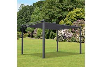 CONDATE 3X4m Semi-Permanent Aluminium Gazebo with Retractable Shade | Grey