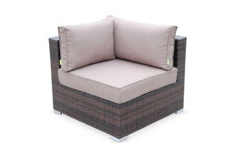 NAPOLI 5 Seater Outdoor Lounge Set Aluminium Frame Brown Wicker/Brown Cushions