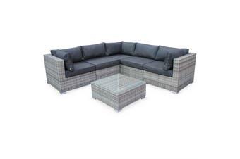 NAPOLI 5 Seater Outdoor Lounge Set Aluminium Frame Mix Grey Wicker/Grey Cushions