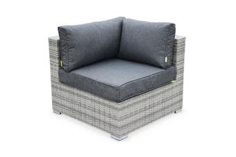 NAPOLI 5 Seater Outdoor Lounge Set Aluminium Frame Mix Grey Wicker/Grey Cushions
