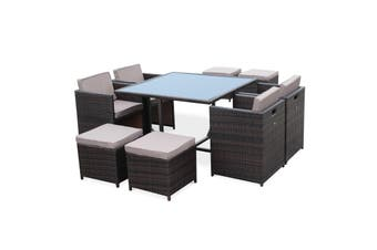 WICKER Bundle CALIGARI Lounge + VASTO 8 Dining set | BROWN