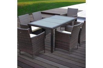 TAVOLA 6 Seater 150cm Dining Set in Wicker - _BROWN