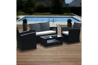ASTI 4 Seater Outdoor Lounge Set - Brown/Brown