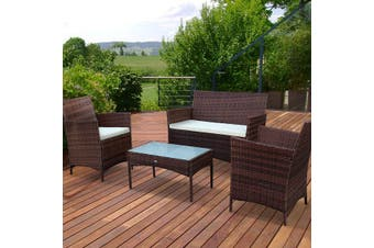 MOLTES 4 Seater Outdoor Lounge Set - Brown/Ecru