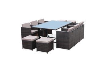 VASTO 10 Seater 170cm Dining Set | Brown Wicker/Brown Cushions