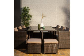VASTO 10 Seater 170cm Dining Set | Brown Wicker/Brown Cushions