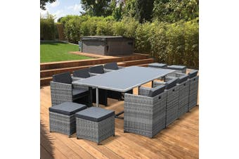 VASTO 12 Seater 220cm Dining Set | Mix Grey Wicker/Grey Cushions
